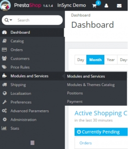 module and services of prestashop
