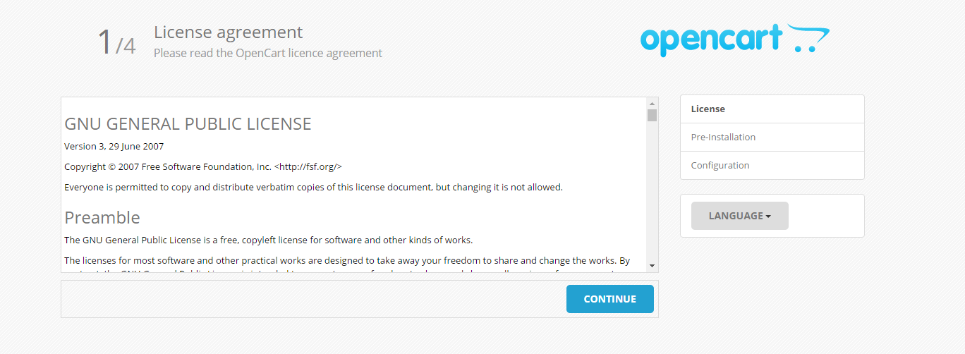 Opencart License Agreement