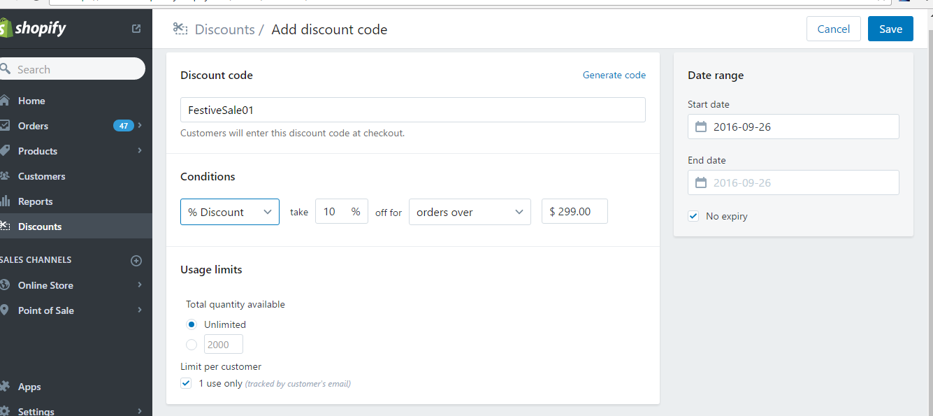 how to add coupon code shopify