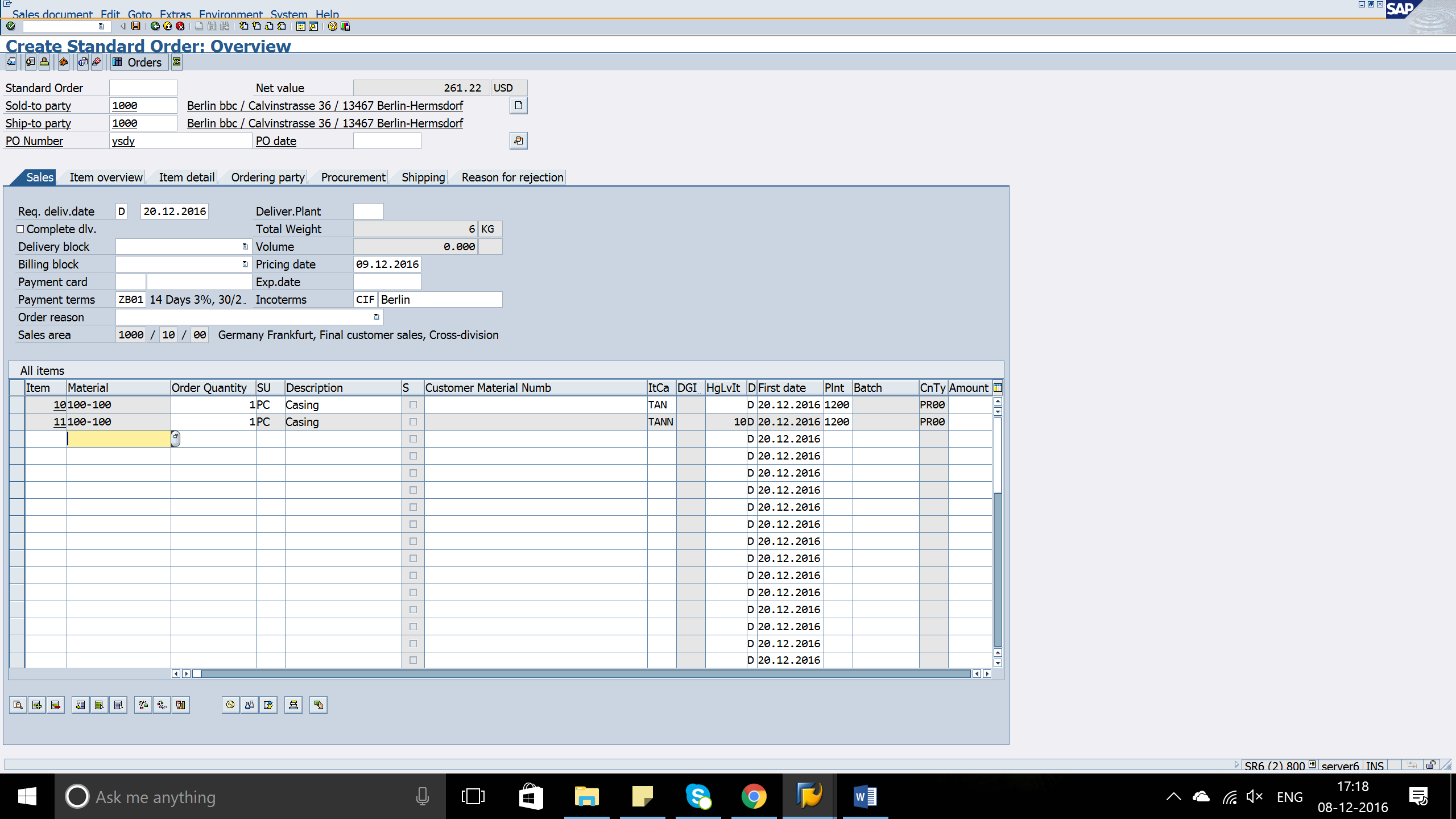 Create Standard Order in SAP erp