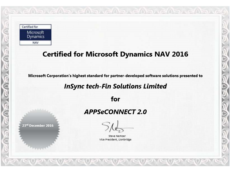 appseconnect certified for microsoft dynamics nav