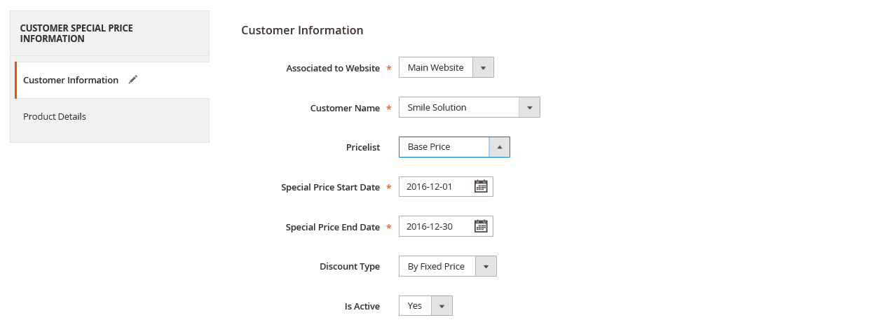 customer specific price in magento