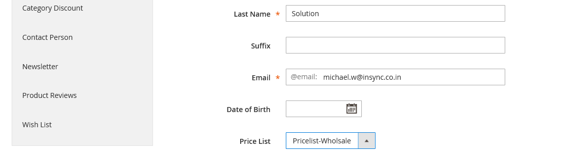 pricelist in account information magento