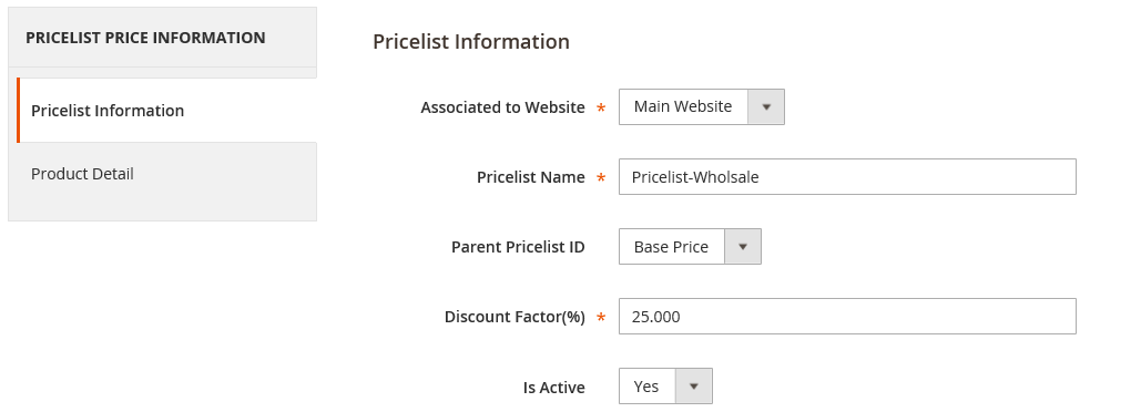 pricelist price information magento