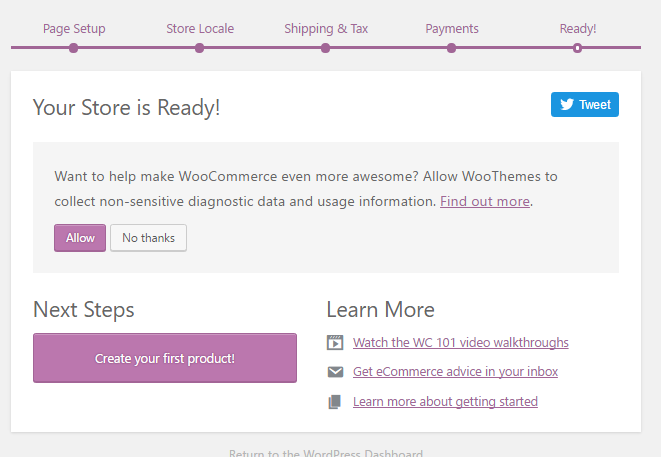 Create WooCommerce Store