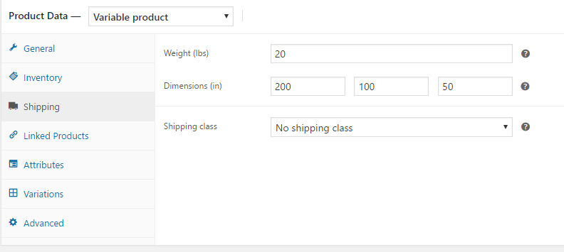 Woocommerce shipping tab weight and dimension