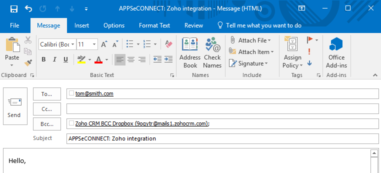 integrate outlook with zoho crm