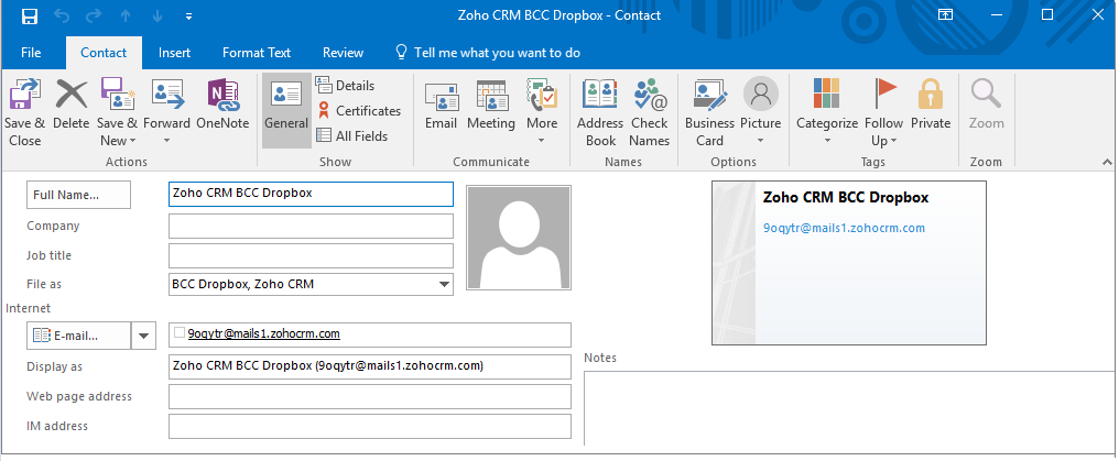 save vcard to integrate zoho crm and outlook