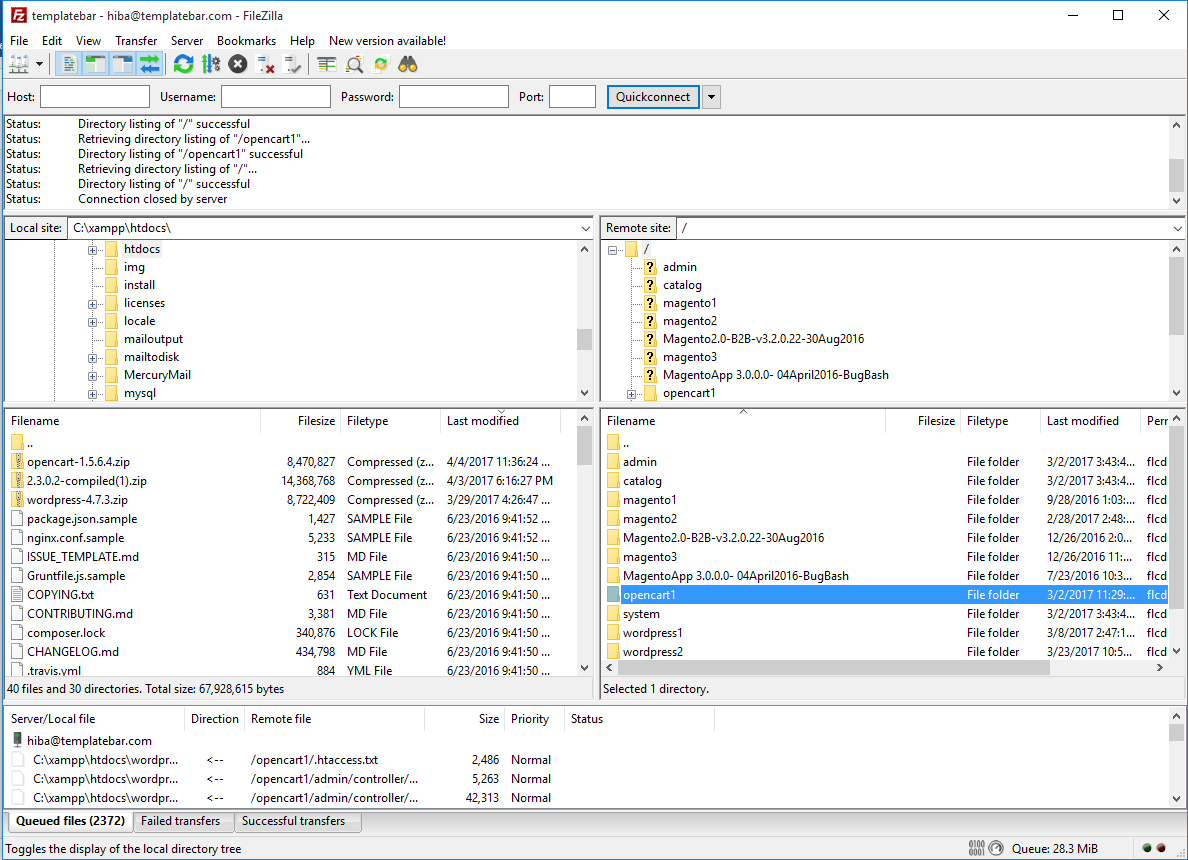using-ftp-filezilla-to-upload-opencart-latest-version